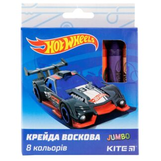 Крейда воскова Jumbo, 8 кольорів, Kite Hot Wheels HW19-076  (HW19-076)
